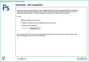 Adobe CS3 Activation Error